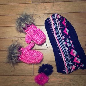 Other - Girls knitted scarf and mittens, hair ties